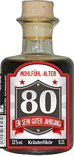 Humor Apotheke Apothekerflasche mit Kräuterlikör 0,2L 32% vol. Holzkorken Kräuterschnäpse zum Geburtstag für Männer Geburtstagsgeschenk Likör (80 Ein sehr guter Jahrgang 50536)