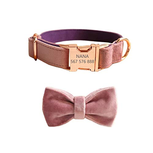 Gohome Pet Personalized Dog Collar Velvet Engraving Custom Name Phone Number ID Tag Metal Buckle Adjustable Collars for Small Medium Dogs with Bow tie Puppy Collars(XS, Pink)