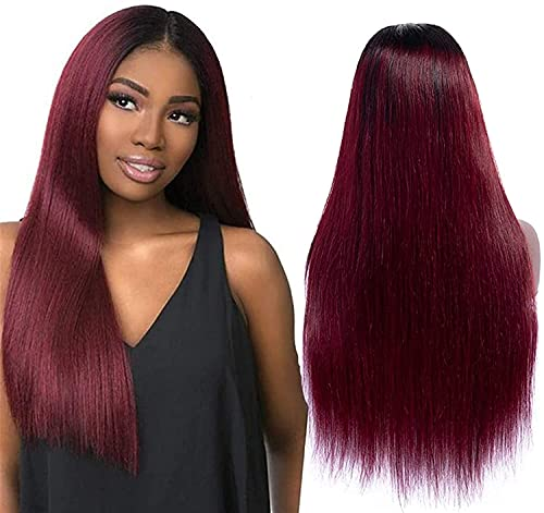 Hair Styling Wigs, Well Wig Lace Front Natural Hair Shadow Human Hair Wigs 4x4 Lace Wig Natural Hair Brazilian Body Wave Wig Red Wig Lace Front Human Hair Wig Red Lace Front Wig for Cosplay Party Dail