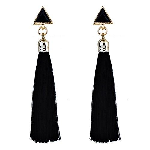 Mingfa Bohemian Women Girls Ethnic Hanging Rope Tassel Earrings Hook Stud Long Drop Earrings (Black,Free Size)