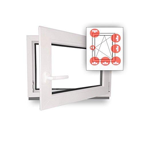 Fenster - Einbruchschutz - weiß - WK2/RC2 Sicherheitsbeschlag - BxH 90x60 cm - DIN Links + 3 Pilzköpfe - abschließbarer Fenstergriff - Wunschmaße möglich