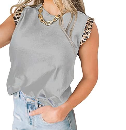 Camisa Mujer Básico Cuello Redondo Empalme De Leopardo Exquisito Diseño De Puños Mujer Shirt All-Match Generoso Casual Clásico Moda Personalidad Simplicidad Mujer Blusa G-Grey S