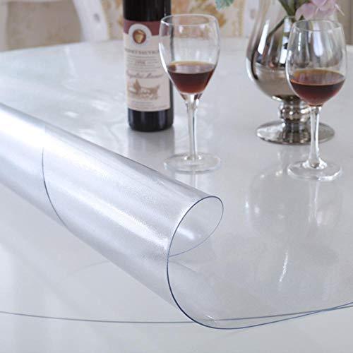 Protector De Cubierta De Mesa Transparente, Tapete De Mesa Anti-Calor, Manteles Transparentess antel Transparente de PVC Plástico Grueso Impermeable para Mesa Cocina Transparente80 CM X 120 CM