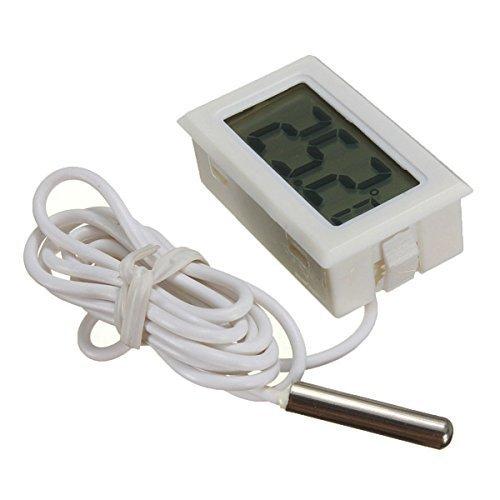 ICQUANZX Digitale LCD-thermometer Temperatuurmonitor met externe sonde voor koelkast met vriezer Koelkast Aquarium - Wit