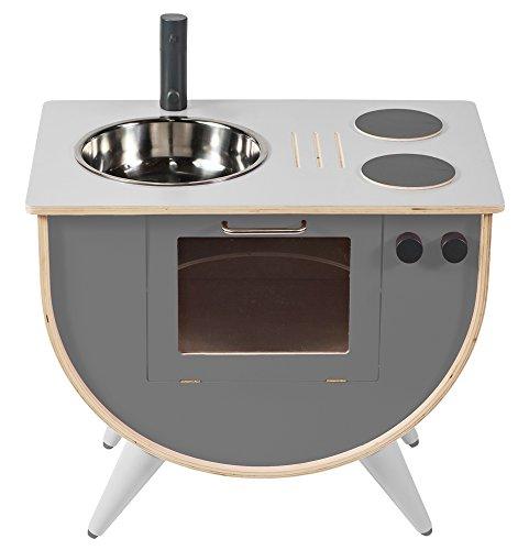 Sebra Spielküche für Kinder aus stabilem Birkenholz in edlem Pastellgrau, Zeitlose Optik vereint mit Funktionalität passt auch ins Wohnzimmer, Kinderküche geeignet für Kinder ab 18 Monaten