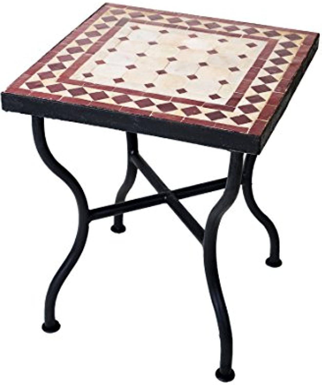 ORIGINAL Marokkanischer Mosaiktisch Gartentisch 40x40cm Gro eckig  Eckiger Mosaik Esstisch Mediterran  als Tisch für Balkon oder Garten  Marrakesch Natur Bordeaux 40x40cm
