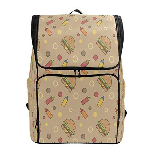Laptop Rugzak Fast Food Burger Saus Patroon Grote Capaciteit Tas Reizen Daypack