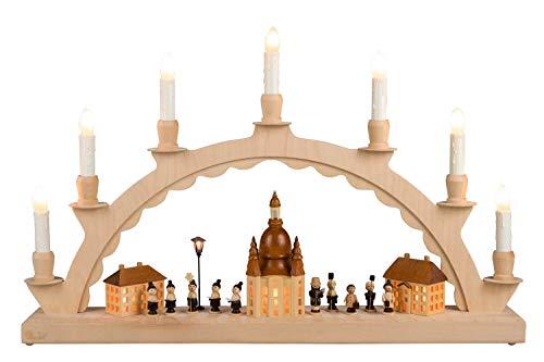 Nestler-Seiffen Schwibbogen Dresdener Frauenkirche, komplett elektrisch beleuchtet mit Langen Kerzen, Original Seiffen Lichterbogen