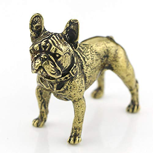 LOTONTJ Feng Shui Brass Miniature Statue French Bull Dog Fashion Puppy Animal Figurine Office Tearoom Decor Very Cute for Warding-Off The Evil Money Forever Prosperity