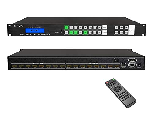 MT-VIKI 8x8 HDMI Matrix Switch 8 in 8 Out 4K@30Hz, Rack Mount Switcher & Splitter with Backlit RS232...