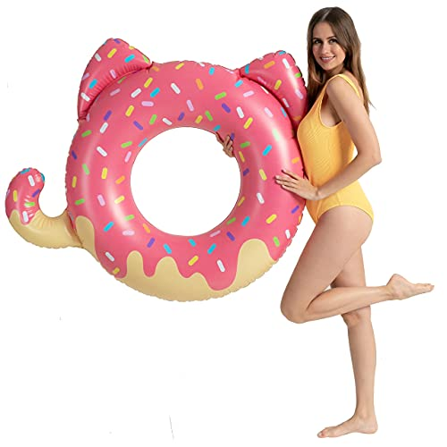 Inflatable Donuts Pool Floats Tubes for Kids, Swimming Rings for Kids Cat Pool Toys, Pool Floats Ring Toys with Repair Patch, Beach Water Toys for Kids Adults