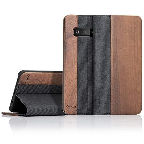 NALIA Echt-Holz Klapphülle kompatibel mit Samsung Galaxy S10, Handmade Phone Hülle Handyhülle Natur-Holz Hülle Handy-Tasche Etui Flipcase, Dünnes Kunst-Leder Wood Book Cover Bumper, Farbe:Walnuss