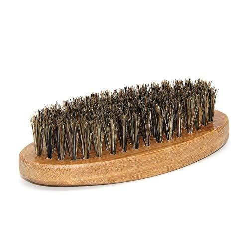 Brosse à barbe -Poils de sanglier pour hommes Poils de barbe Moustache Brosse Poignée en bois dur militaire rond - Brun