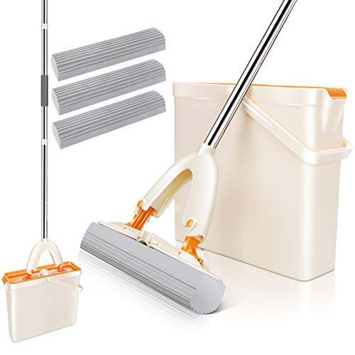 MASTERTOP Schwamm Mop und Eimer Set mit 3 PVA Schwamm Wischkopfs, Wischmop und Eimersystem Selbstwasch, Bodenwischer Mopp für Boden Reinigung