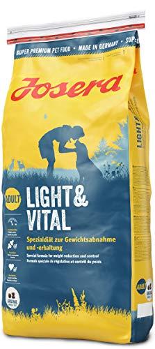 JOSERA Light & Vital, hondenvoer met laag vetgehalte, super premium droogvoer voor volwassen honden, per stuk verpakt (1 x 15 kg)