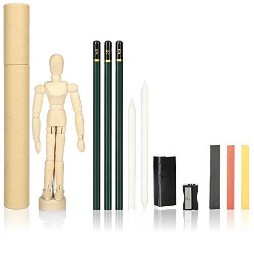 com-four® 12-teiliges Zeichen-Set - Bleistift-Set für Einsteiger mit Kreide, Kohle, Gliederpuppe - Skizzieren und Malen für Kinder