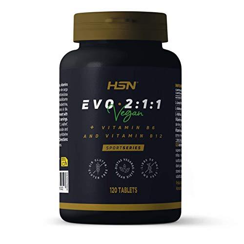 BCAA en Tabletas Evo 2:1:1 de HSN | Aminoácidos Ramificados con Ratio 2:1:1 (Leucina, Valina, Isoleucina) + Vitamina B6 y B12 | Vegano, Sin Gluten, Sin Lactosa, 40 servicios