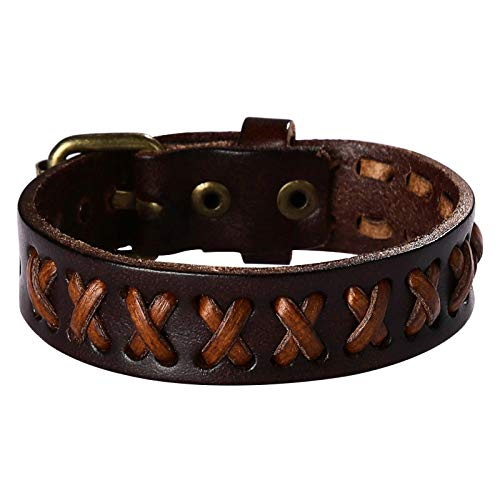 Bishilin Jewelry Hand Woven Bangle Bracelets Leather Brown Bracelet for Mens Boys