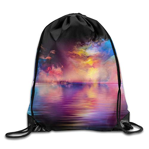 Shores of Dreams Series Artistic Abstraction Composed of Colors and Gradients on The Subject of Drawstring Bags Hiking Backpack Sport Bag for Men & Women Drawstring Shoulder Bag Backpack String Bags
