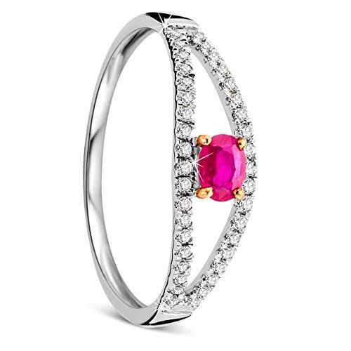Orovi Damen Weißgold Verlobungsring Diamanten mit Rubin Diamantring 9 Karat (375) Brillianten 0.12carat Rubin 0.3carat mit 38 Diamanten