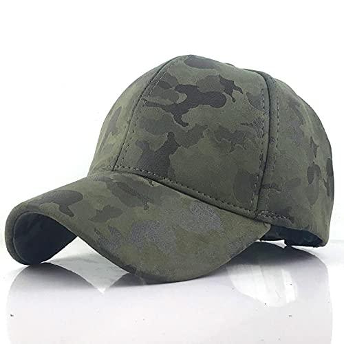 NJJX Gorra De Béisbol Deportes Al Aire Libre Cuero De Terciopelo para Hombres PU Ventilador del Ejército Gorra De Pico Sombrero Femenino Verde Militar