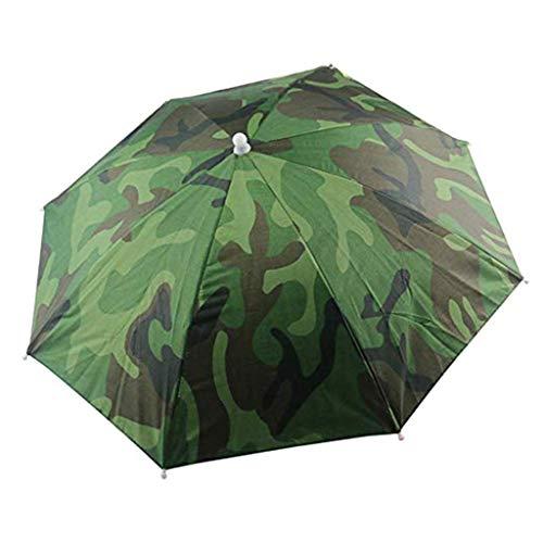 Morningmo - Paraguas para la playa, multicolor, gorro de pesca, sombrero manos libres, con correa para la cabeza, gorra para el sol, lluvia, equipo de viaje