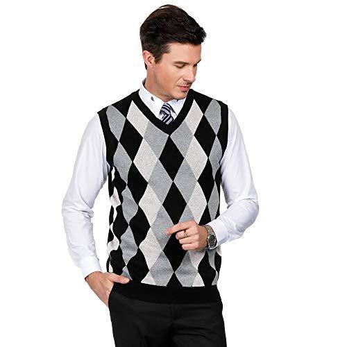 PJ PAUL JONES Mens Casual Slim Fit Sweater Vest V-Neck Golf Vest Argyle Print (XL,White)
