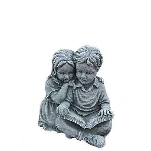 Steinfigur Massive Kinderfigur mit Buch Junge Mädchen Steinguss Frostfest