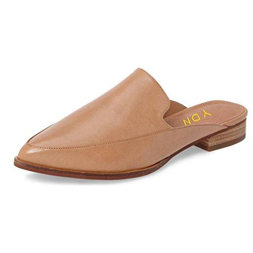 YDN Damen Niedrige Absätze Pantoletten Slip On Flache Loafer Spitze Clogs Slide Slipper Schuhe, Beige (nude), 43 EU