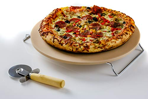 Ovente Ceramic Flat 13 Inch Pizza Stone Set with Crust Cutter Wheel & Metal Rack/Handle, Compact Easy Storage Portable Baking Grilling Stone Thermal Shock Resistance for Oven Grill BBQ, Beige BW10132