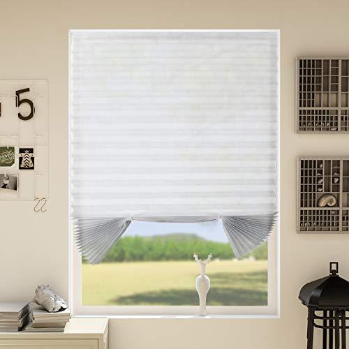 HoHouse Plissee Kleben Zuschneidbar Plisseerollo ohne Bohren ohne Klemmträgern Licht-und Sohneschutz - Weiß-110x182cm(BxH)-2er Pack