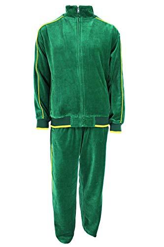 Sweatsedo Mens Velour Tracksuit (Green, Large)