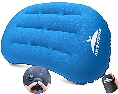 Ultralight Inflatable Camping Travel Pillow - Fast Inflatable by Pressing - Compressible Pillows for Backpacking & Hiking, Small Compact, Great for Hammock Bed & Camp, Comfortable 30D Top