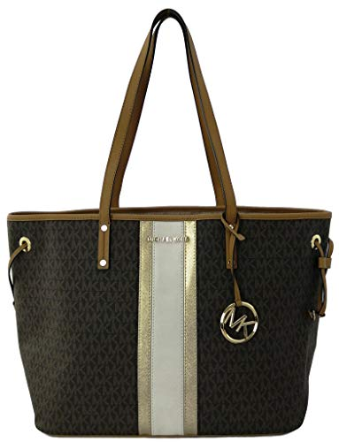 Michael Kors Jet Set Travel Large Drawstring Tote Center Stripe MK Signature Brown Pale Gold