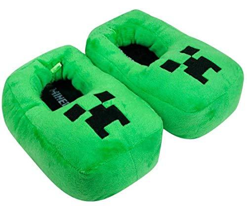 Creeper Jungen 3D Green Slipper, Plüsch Neuheit Schuhe Slip On für Kinder (25/26 EU, 25)