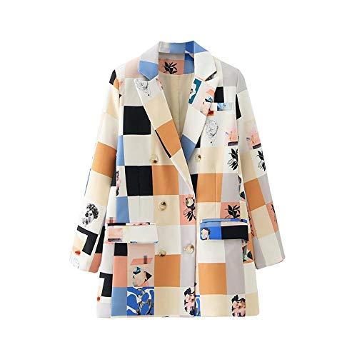 KULIXI Acquista Autunno Inverno Donna Moda Stampa Blazer Femminile Giacca Manica Lunga da Donna Casual Blazer Sciolto Top-Multi_S