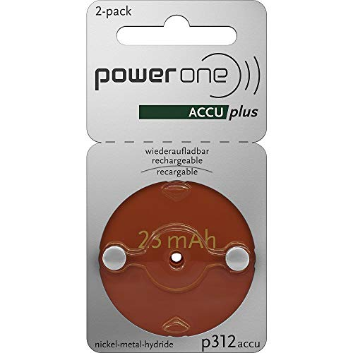 Power One ACCU Plus Size 312 Rechargeable, 4 Batteries