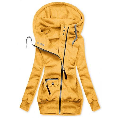 Auifor Damen Kapuzenpullover, Hoodie Kapuzenjacke Sweatjacke lang Mantel Sweatshirt Zip Herbst Winter Jacke Mit Kapuze Lange Gefüttert (Gelb,XXXX-Large