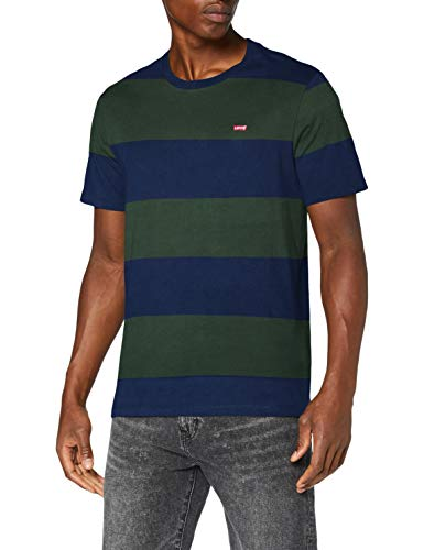 Levi's SS Original Hm tee Camiseta, Rugby Stripe Dress Blues, L para Hombre