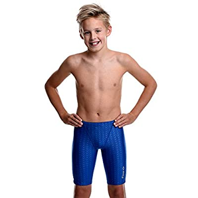 Flow Swim Jammer - Boys Youth Sizes 20 to 32 in Black, Navy, and Blue (26, Blue Crescents)