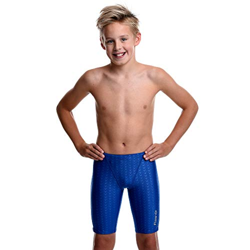 Flow Swim Jammer - Boys Youth Sizes 20 to 32 in Black, Navy, and Blue (28, Blue Crescents)