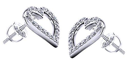 Cyber Monday Deals - Orecchini a perno a forma di cuore, con diamanti naturali bianchi taglio rotondo in oro bianco 585 massiccio (0,22 ct) e Oro bianco, colore: bianco, cod. UK-M-CMEJWU541-WG