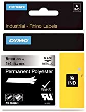 DYMO Rhino Permanent Adhesive Polyester Label Tape, 1/4-inch, 18-foot Cassette, Metallic (1805441)