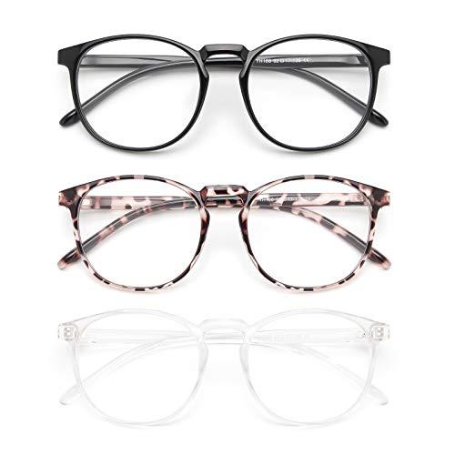 IBOANN 3 Pack Blue Light Blocking Glasses Women/Men, Round Fashion Retro Frame, Vintage Fake Eyeglasses with Clear Lens (Light Black & Leopard & Tranparent)
