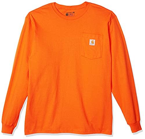 Carhartt Men's K126 Workwear Jersey Pocket Long-Sleeve Shirt (Regular and Big & Tall Sizes), Orange, Small