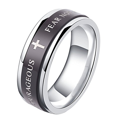 ALEXTINA 7MM Black Stainless Steel Bible Verse Isaiah 41:10 Joshua 1:9 Christian Ring Spinner Wedding Band Size 10