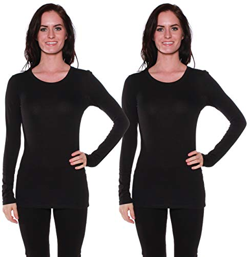Active Basic Athletic Fitted Plain Long Sleeves Round Crew Neck T Shirt Top, 2 Pack - Black, Black, Small