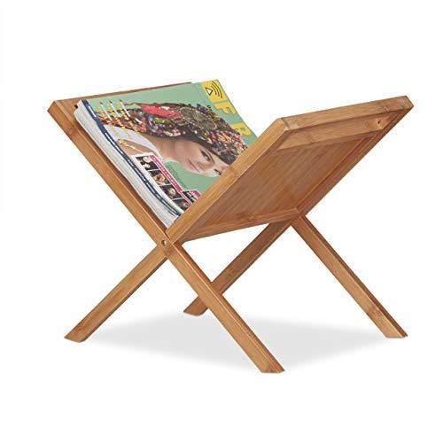 Relaxdays Zeitungsständer Bambus, Ablage, Sammler, Tragegriffe, handlich, platzsparend, stehend, din a4, din a5, natur