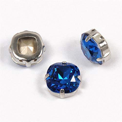 4470 - Piedras cosidas con corte de cojín para decoración de vestidos, color azul, 8 mm, 21 unidades
