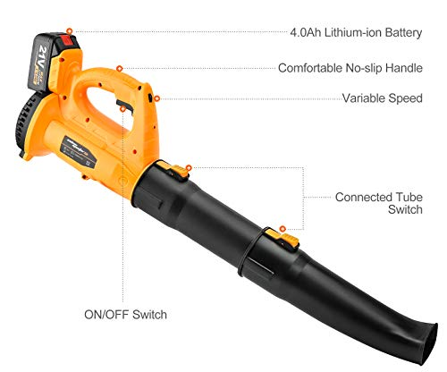 SALEM MASTER Cordless Leaf Blower - 318 CFM 250 MPH 6-Speed Electric with 21V 4.0Ah Lithium Blower, Lightweight Leaf Blower for Patio, Lawn, Garden and Work Around House (Battery and Charger Included)